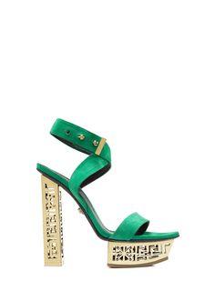 Love this by VERSACE #Greek Suede Platform Sandals - $1475