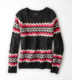 Pink AEO Vivid Patterned Crew Sweater