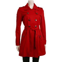 Jessica Simpson Satin Trench Cherry - JOCMC174-CHY - Fashionville.com ($97) ❤ liked on Polyvore