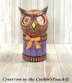 Halloween Handmade OOAK  Folk Art HOOT Owl Lantern Luminary Candy Container #HalloweenFolkArt  FREE Shipping Too!