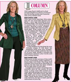Trinny and Susannah show off the clothes to suit the column women's body type.