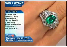 Emerald ring with diamonds - 2.2 ct emerald and 2 cts of diamonds in 18K white gold