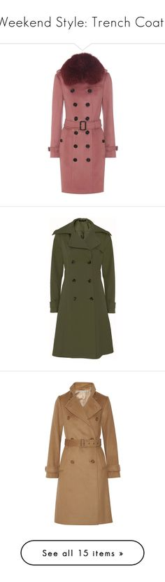 """""""Weekend Style: Trench Coats"""" by polyvore-editorial ❤ liked on Polyvore featuring TrenchCoats, outerwear, coats, pink, fur trim coat, trench coat, burberry coat, pink trench coat, red trench coat and water resistant coat"""