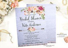 Custom Bridal Invite Watercolor Invitation Floral Bridal