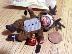 dolls house ooak sculpt baby boy, Christmas Reindeer 1/12 scale