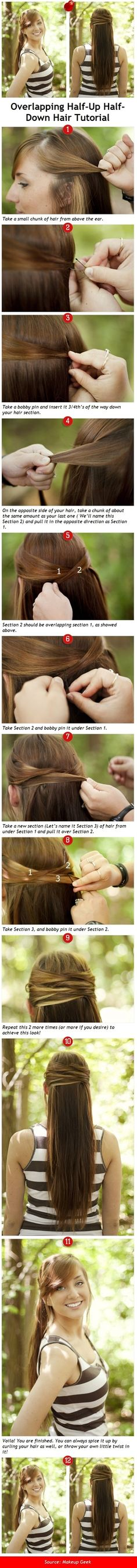 Overlapping Half-Up Half-Down Hair Tutorial Easy!!!