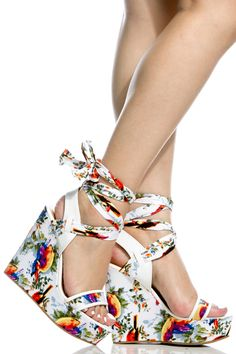 7879ebf0411026 White Faux Leather Multi Print Wrap Around Wedges   Cicihot Wedges Shoes  Store Wedge Shoes