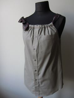 Upcycled Clothing - Boyfriend Tank Top in Dark Beige with Two Changeable Necktie Shoulder Straps - Womens Upcycled Clothing. $48.00, via Etsy.