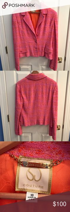 Beautiful St. John's Blazer In great condition only worn a handful of times. This is a very cute pink and orange Blazer. Check out the matching skirt in my closet! Feel free to ask questions or make an offer! Jackets & Coats Blazers