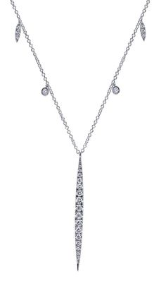 A daringly beautiful 14k White Gold Diamond Necklace from Gabriel & Co. We love the details, designs, and diamonds in this gorgeous necklace. Pair this necklace along with another Gabriel & Co. necklace to stack!