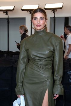 Braless in a high Slit green Leather Dress Red Leather Dress, Leather Dresses, Green Leather, Edgy Dress, Leather Jackets For Sale, Latex Dress, Celebrity Outfits, Leather Fashion, Lady
