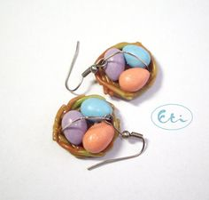 Easter earrings, easter nest, easter eggs, air dry clay, cold porcelain. $8.00, via Etsy. #easter #jewelry #design