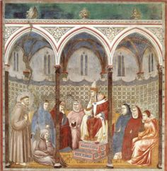 Giotto di Bondone   St. Francis Preaching a Sermon to Pope Honorius III   1297-1299  San Francesco, Upper Church, Assisi, Italy