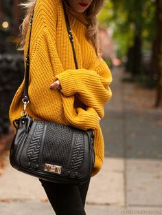 chunky sweater and I love the bag