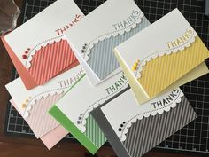 Quick card set made using Simon Says Stamp Scalloped Thanks border die Paper Cards, Diy Cards, Folded Cards, Handmade Birthday Cards, Greeting Cards Handmade, Handmade Thank You Cards, Thanks Card, Embossed Cards, Cricut Cards