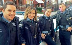 Halstead, Lindsay,  Burgess and Roman on Patrol (BTS)
