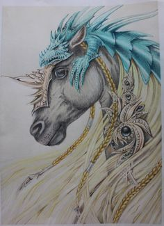 útprentuð mynd polychromos Dark Art Drawings, Horse Drawings, Amazing Drawings, Unicorn Fantasy, Unicorn Art, Fantasy Art, Pretty Horses, Beautiful Horses, Fantasy Creatures