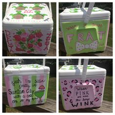 suuuuch a cute cooler! Hand Painted Coolers, Coolest Cooler, Cooler Painting, Sorority Crafts, Delta Zeta, Greek Life, Diy Crafts, Crafty, Spirit Gifts