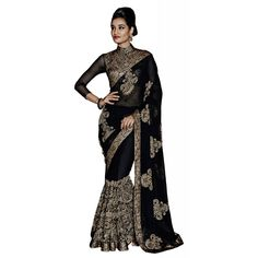 Black Georgette Festival #Saree With Blouse- $47.10