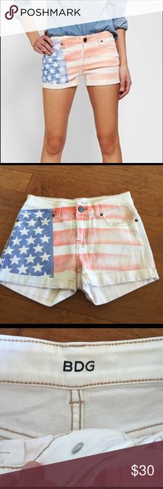 BDG Alexa shorts They have never been worn. New, no tags. American flag print on them. Great quality shorts. Mid-rise and stretchy. BDG Shorts Jean Shorts
