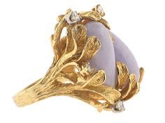 Lavender Jade and Diamond Ring in 18K - Beladora Antique and Estate Jewelry