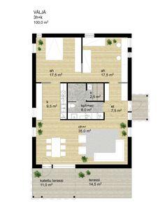Talomalli Blanko pohjakuva Väljä House Inspirations, Dream Houses, House Floor Plans, Sims, Layouts, House Ideas, New Homes, Cottage, Windows