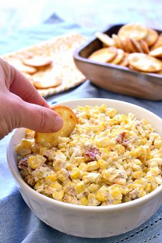 This Bacon Cheddar Ranch Corn Dip is made with just 5 ingredients and packed with flavor!
