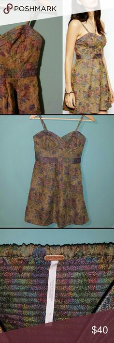 Free People Tapestry Dress! Free People Tapestry Bustier Dress! Adjustable and removable straps. 100% polyester shell. 100% rayon lining. Machine washable. EUC. Free People Dresses Mini