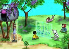 """NAME: Alejandra Aceves Rueda WEB: www.alejandraaceves.com COUNTRY: México SOCIAL: Twitter: @HistCotidianas; FB: Historias Cotidianas; Ig: @Hist Cotidianas. TITLE: Educación TECHNIQUE: A mano en tableta Wacom YEAR: 2015 DESCRIPTION: """"Nanotecnología y biotecnología impactarán la vida en 2100. Educación interespecies""""."""