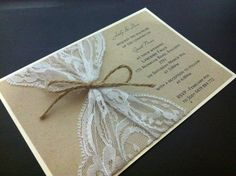 2 layer vintage lace invitation with rustic twine bow