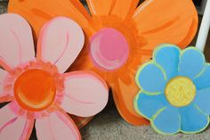 Flower Set - 3 Flowers - Wooden Wall Hanging Room Decor - Hand Cut and Hand Painted. $70.00, via Etsy.