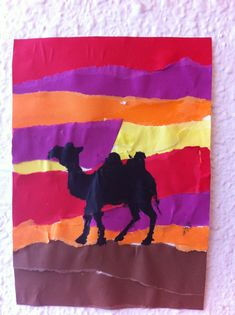 torn paper to create desert sunset. use either for door or locker mural Camel Craft, Desert Crafts, Desert Art, Desert Sunset, Desert Animals, My Father's World, Cultural Studies, Movie Themes, Sunday School Crafts