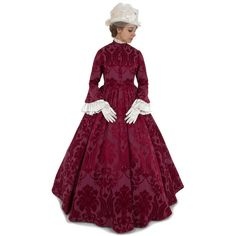 dresses from the southern belle era This fabulous Victorian gown has many elements of Civil War styling, with a high neckline, large pagoda style sleeves, and a very Victorian Gown, Victorian Costume, Victorian Fashion, Steampunk Fashion, Gothic Steampunk, Steampunk Clothing, Victorian Gothic, Gothic Lolita, Gothic Fashion