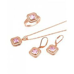 for those who love rose on rose. our 9.00 CTW Rose CZ 18K Rose Gold / Sterling Silver Jewelry Set is perfect for you!