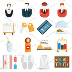 Hotel icons vector illustration Graphics Hotel icons and hotel services icons on white background. Vector hotel icons and travel hotel icons by Vectorstockerland