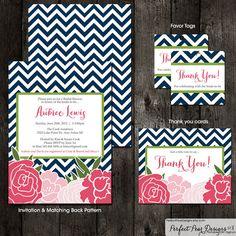 Bridal Shower Invitation Combo Pack - Chevron Flowers - Mod, Floral, Rose, Navy, Blue, Pink, Apple, Lime, Green (DIY Digital Printable) on Etsy, $34.30