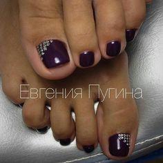 Dark Purple Toe NailArt
