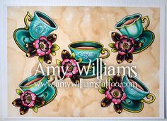 Turquoise Teacups Tattoo Art A3 Print by amybird on Etsy, £20.00
