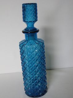 Elegant Pressed Glass Blue Liquor Decanter #teamsellit