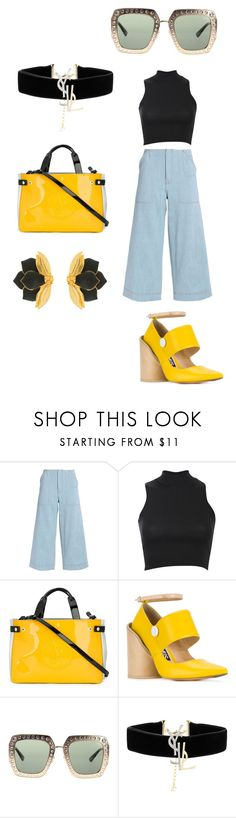 """Untitled #329"" by donia-tanase on Polyvore featuring Acne Studios, Pilot, Armani Jeans, Jacquemus, Gucci, Yves Saint Laurent and Oscar de la Renta"