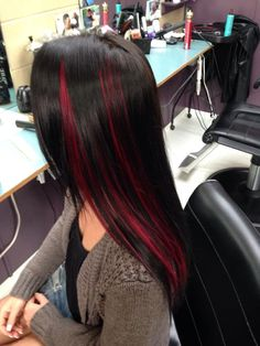 Trendy Hair Color Red Peekaboo Ideas - All For Hair Color Balayage Red Peekaboo Highlights, Black Hair With Red Highlights, Hair Highlights, Chunky Highlights, Black Hair Red Tips, Caramel Highlights, Color Highlights, Burgundy Hair, Hair Color Streaks