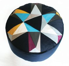 This would look awesome with my new Marimekko canvas in the living room. Kaleidoscope patchwork pouffe by FunMakesGood on Etsy