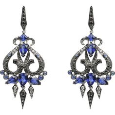 Belle Epoque Chandelier Earrings in 18k white gold with sapphires, black and white diamonds