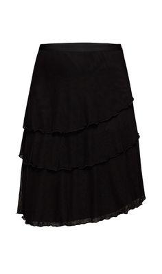 WILLA $195 214650 Stretch mesh netting, three-tiered asymmetrical hem, A-line skirt.