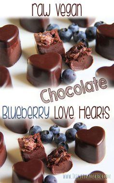 Raw Chocolate Blueberry Love Hearts. #vegan #dairyfree #glutenfree