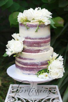 Red Velvet Semi Wedding Cake with fresh flowers by Tortissime Cake Design