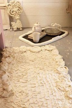 Shabby Chic Ruffles and Roses Rug