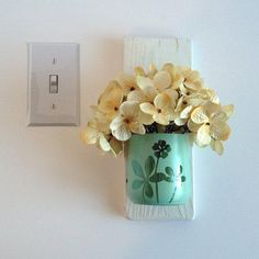 Create storage anywhere you need it! Three containers are made from recycled glass. Wall Mounted Planters, Flower Pots, Flowers, Wall Storage, Recycled Glass, Home Projects, Shabby Chic, Container, Place Card Holders