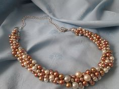"""Handmade Kumihimo Multi color Pearl Necklace - Length 25"""" - Glass Pearls - Lobster clasp - 4 Different Colors - chain adjustable by LsFindsandCreations on Etsy"""