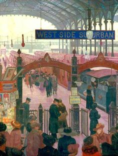 Liverpool Street Station by Marjorie Sherlock painted 1917. This one, in the Government Art Collection appears to be almost identical to the one titled Liverpool Street Station in the Twenties in the National Railway Museum.